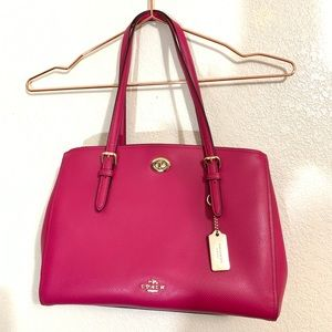 "Coach | EUC Deep Pink Leather Satchel Purse 11""x8"""